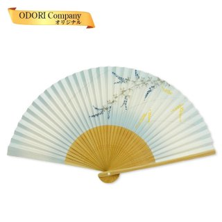 扇子 女性用 日本製 紙扇子 6.5寸(19.5cm) 35間 婦人用 夏扇子 しだれ藤 京扇子 香り付き 箱入
