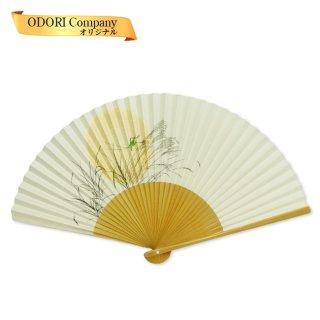 扇子 男性用 日本製 紙扇子 7.5寸(約22.5cm) 35間 紳士用 夏扇子 月と秋の虫 京扇子 香り付き 箱入