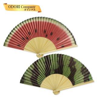 扇子 女性用 日本製 紙扇子 6.5寸(約19.5cm) 35間 婦人用 夏扇子 すいか 京扇子 箱入り