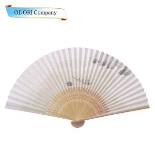 扇子 男性用 日本製 夏扇子 紳士用扇子 男物扇子 海越しの山 白丸中彫 7.5寸 35間
