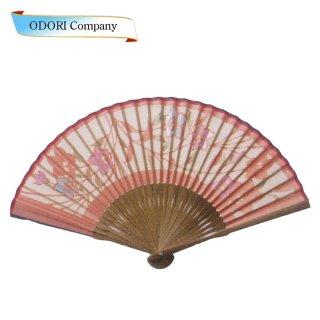 扇子 女性用 日本製 夏扇子 婦人用扇子 女物扇子 短地 切抜 桜 唐木中彫 6.5寸 35間