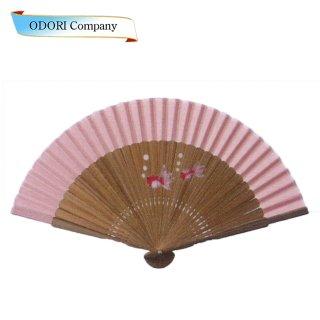 扇子 女性用 日本製 夏扇子 婦人用扇子 女物扇子 布地蛤 桜 唐木 6寸 18間