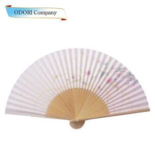 扇子 女性用 日本製 夏扇子 婦人用扇子 女物扇子 月に桜 白丸中彫 6.5寸 35間