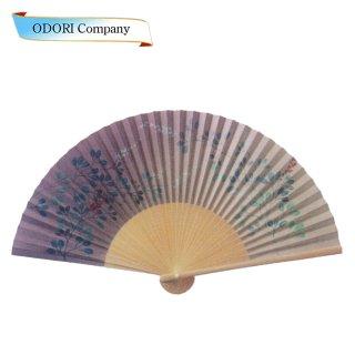 扇子 女性用 日本製 夏扇子 婦人用扇子 女物扇子 桔梗 白丸中彫 6.5寸 35間