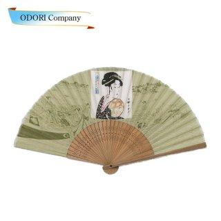 夏扇子 夏扇 扇子 絹製鶯色 浮世絵「きぬずれ」