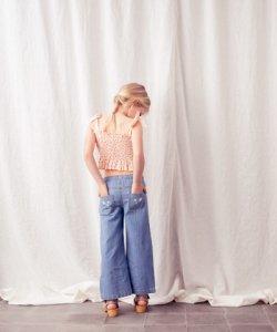 30%OFF/TOCOTO VINTAGE Denim Flower Pants