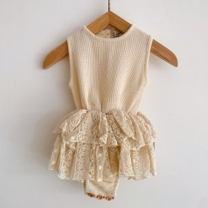 30%OFF/piupiuchick  baby romper with waist lace frills