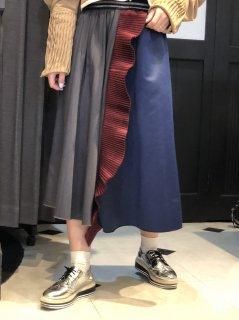 【即納】プリーツフレア切替スカート