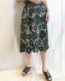 【即納】フラワーレーススカート/グリーン