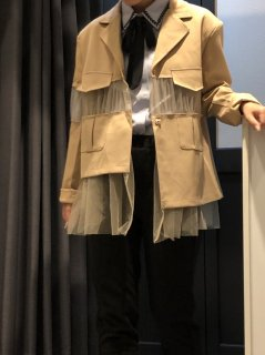 【即納】シースルーコンビジャケット ベージュS
