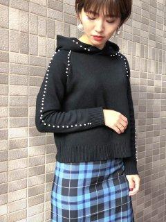 【即納】パールフードニット/ブラック