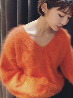 【予約】リュクスアンゴラVニット/オレンジ