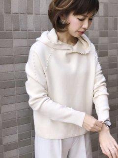 【即納】パールフードニット/アイボリー