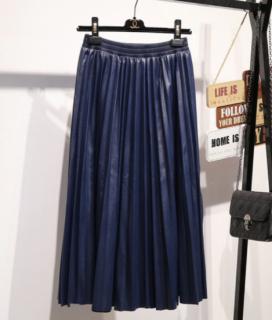 【即納】レザー風プリーツスカート
