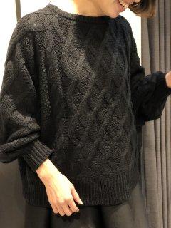【即納】ミックスケーブル編みニット/ブラック