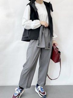 【即納】腰巻ハイウエストパンツ/ブラック