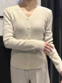 【即納】パールVネックカーディガン/アイボリー
