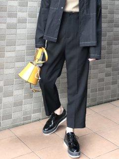 【即納】ハイウエストセンタープレスパンツ/ブラック