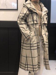 【即納】チェック柄ロングジップコート