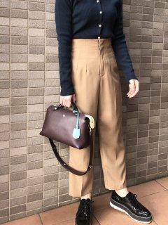 【即納】ハイウエストセンタープレスパンツ/キャメル