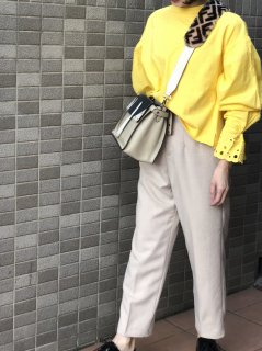 【即納】ハイウエストセンタープレスパンツ/ベージュ