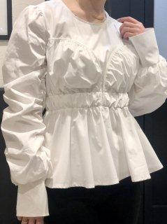 【即納】カーブギャザーブラウス/ホワイト