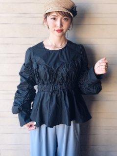 【即納】カーブギャザーブラウス/ブラック