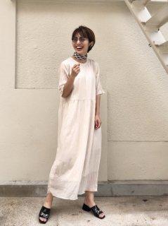 【即納】3colorsワッシャー五分袖ワンピース