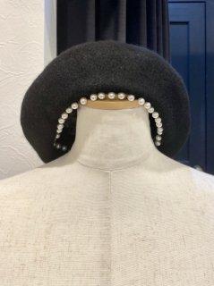 【即納】パール付きベレー帽
