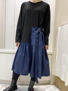 【即納】ベルト切替長袖ワンピ