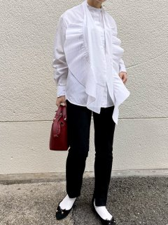 【即納】2wayプリーツラインロングシャツ