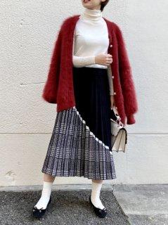 【即納】スラッシュチェックニットスカート