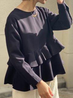 【即納】バックボタン長袖ペプラムブラウス