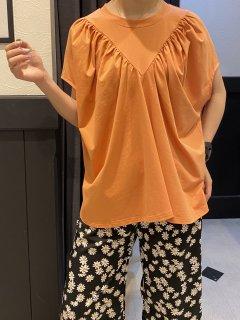 【即納】VギャザーフレンチTシャツ