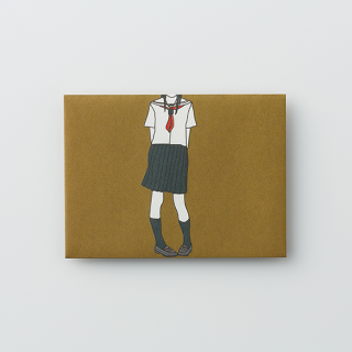 大人のポチ袋【セーラー女子がひとり・ブラウン】/3枚セット