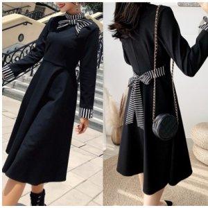 ヘップバーン ドレス ストライプ アクセント リボン 可愛い かわいい フレア ワンピース 20代 30代 40代 レディースファッション