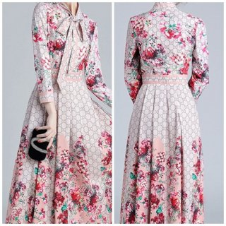 長袖 花柄 ネックリボン エレガント ロングドレス 可愛い 大人 レディース 春 お出かけ イベント シンプル フェミニン ガーリー 大人かわいい 20代 30代 40代