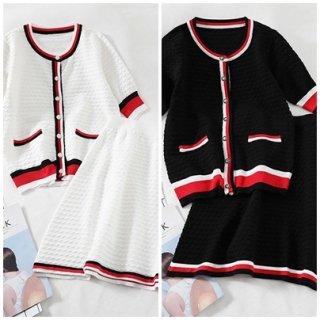 フレンチ カラー 配色 カーディガン フレア スカート セットアップ 可愛い かわいい おしゃれ 大人 配色 オフィスカジュアル 会社 レッド ブラック 20代 30代 40代
