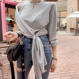 ユニーク 結び目 デザイン Tシャツ トップス カジュアル レディース 春 夏 可愛い かわいい おしゃれ 大人 お出かけ デート 20代 30代 40代
