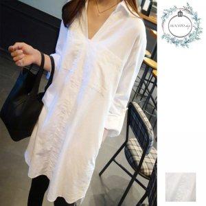 シャツ 韓国 レディース シャツ 長袖 レディース Tシャツ ワンピース ホワイト シンプル シャツ メンズ