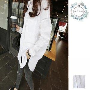 シャツ 韓国 ロング レディース 長袖 シャツ メンズ レディース 韓国ファッション ゆったりシルエット 体型カバー