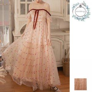 ドレス 結婚式 パーティー 二次会 披露宴 レディース お呼ばれ ストラップドレス メッシュ オフショル風 20代 30代 40代