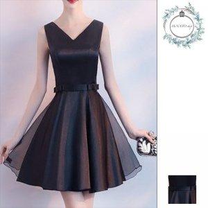 ドレス 結婚式 パーティー レディース ショート丈 ミニ丈 大きいサイズ バックリボン ノースリーブ 黒 ブラック フレア 20代 30代 40代