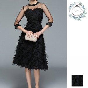 ドレス 結婚式 パーティー レディース ミディ丈 袖丈 メッシュ 七分丈 無地 黒 ブラック フェザー 20代 30代 40代
