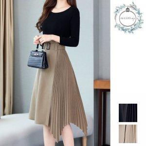 高級感漂う 動くたびに 美しい アシンメトリーな エレガント プリーツスカート
