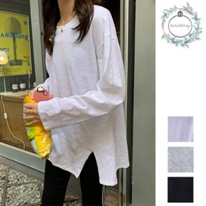 裾スリット シンプル ロングスリーブ Tシャツ ロンT ゆるコーデ ナチュラル シンプルスタイル リラックスコーデ 大人カジュアル