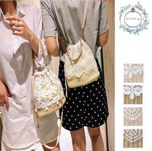 お花のレース 巾着型 編みバッグ ショルダーバッグ かごバッグ 斜め掛け フラワー 鞄 カバン レディース オシャレ ガーリー 大人可愛い 春夏 20代 30代 韓国