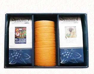 北海道産生クリーム「絹ロール」と選べるスペシャルティコーヒー豆300g×2種類ギフトセット(送料無料)