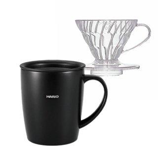 期間限定特価【Please Stay Home and Enjoy Coffee】ハリオ V60ドリッパー & フタ付き保温マグ(ブラック)