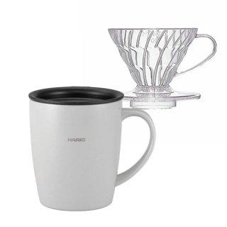 期間限定特価【Please Stay Home and Enjoy Coffee】ハリオ V60ドリッパー & フタ付き保温マグ(グレー)